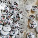 """Пуговицы деревянные с рисунком """"Снеговик с ведром"""" 5шт."""