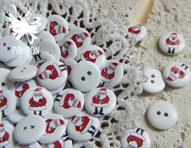 """Пуговицы деревянные с рисунком """"Дед мороз"""" 5шт."""