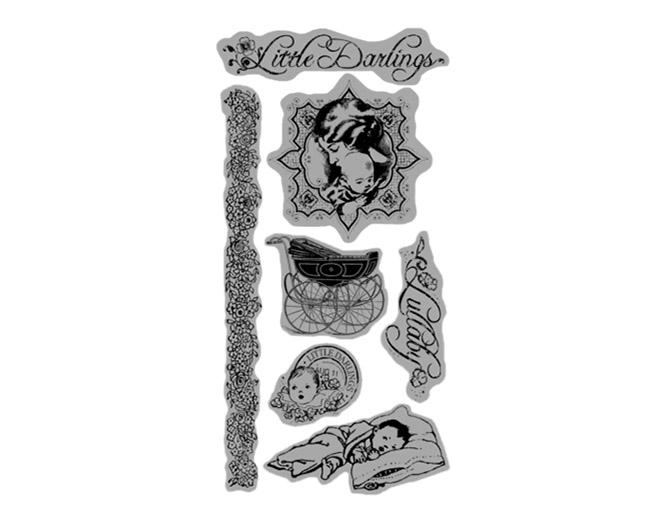 Набор резиновых штампов Little Darlings Cling 1, размер 10х21 см