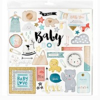 Чипборд с глиттером Little You Boy от Crate Paper