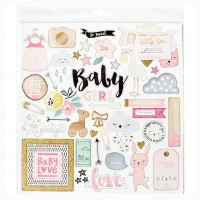Чипборд с глиттером Little You Girl от Crate Paper