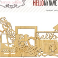 Вырубки из дерева Hello My Name Is