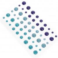 Эмалевые точки (дотсы) с глиттером сине-голубые