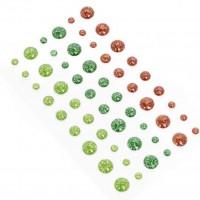 Эмалевые точки (дотсы) с глиттером красно-зеленые