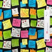 Ткань американский хлопок Post-it Notes Black