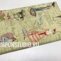 Ткань американский хлопок A Ladies' Diary Fashion Plates  45*55