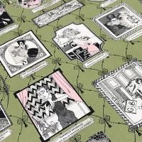Ткань американский хлопок A Ghastlie Gallery Frames Green 92*110 (1 ярд)