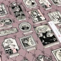 Ткань американский хлопок A Ghastlie Gallery Frames Pink 92*110 (1 ярд)