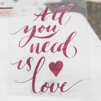 Надпись из термотрансферной пленки ALL YOU NEED IS LOVE