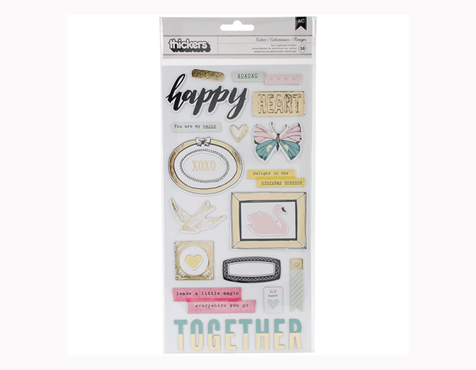 Стикеры из чипборда Maggie Holmes Chasing Dreams Accents/Chipboard With Gold Foil